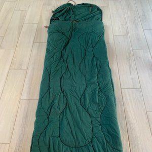 Green and Plaid Sleeping Bag